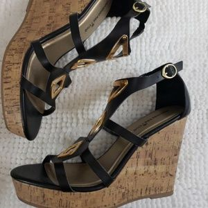 13 Women's Cage Sandal Wedge High Heel Shoes